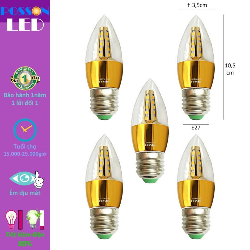 5 Bóng đèn Led nến 5w quả nhót đuôi E27 Posson LCP-5E27x