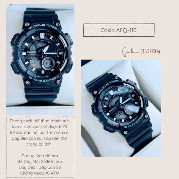 Đồng Hồ Nam Thể Thao Dây Nhựa Tiểu G-Shock Chính Hãng Casio AEQ-110 Minh Minh Watch