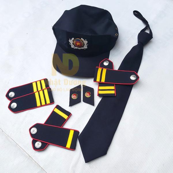 Phụ kiện nón bảo vệ - cầu vai- ve áo- cà vạt - cho quần áo trang phục bảo vệ