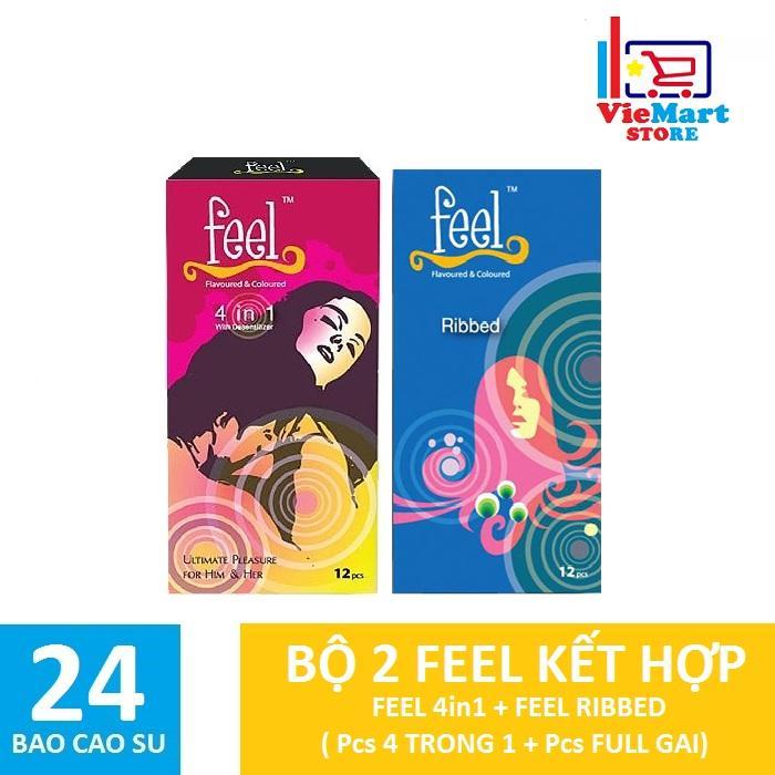 Bộ 2 Hộp Bao cao su Feel 4in1 12s + Feel Ribbed Gân 12s - Hãng phân phối chính thức nhập khẩu