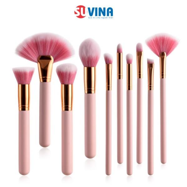 Set Cọ Trang Điểm Cá Nhân 10 Cây Màu Hồng Lông Siêu Mịn Cao Cấp Thuận Tiện Đầy Đủ Chức Năng Makeup Hiệu Quả