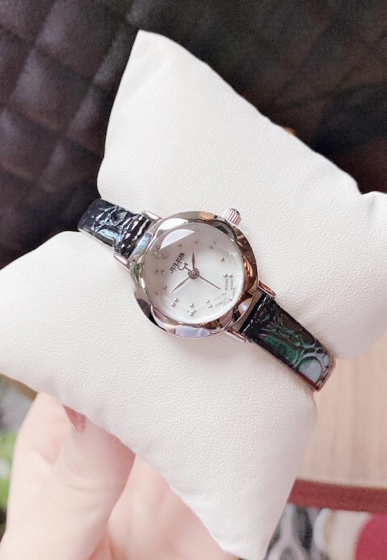 Đồng hồ nữ Julius Hàn Quốc JA-482 mặt tròn dây da (Chọn màu)