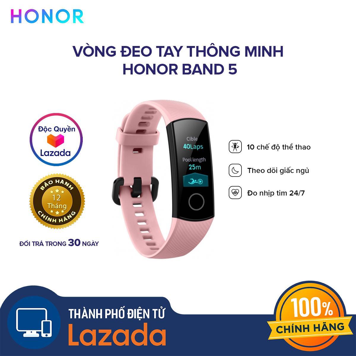 Giá [PRE-SALE] [ĐỘC QUYỀN LAZADA] Vòng đeo tay thông minh Honor Band 5  - Chức năng đo Oxy trong máu SpO2 - Màn hình AMOLED - Chống thấm nước 50M