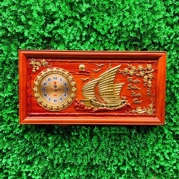 Đồng hồ Thuận Buồm Xuôi Gió gỗ treo tường kích thước 41x81x3 phong thủy giá xưởng bán chạy