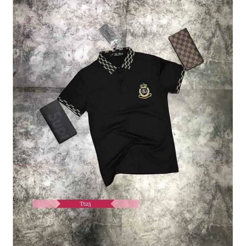 Áo thun polo cổ bẻ LOGOGC cao cấp, chất liệu cotton cá sấu, phong cách trẻ trung, 2 màu trắng đen, full size từ 35-90kg