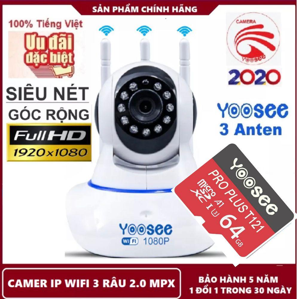 Camera wifi yoosee fullhd 1920 x 1080P chuẩn 2.0mpx 3 râu bắt wifi cực khỏe, camera wifi giám sát lắp trong nhà ban đêm có hồng ngoại xoay 360 độ, phát hiện chuyển động di chuyển theo người, camera đàm thoại 2 chiều ghi âm ghi hình