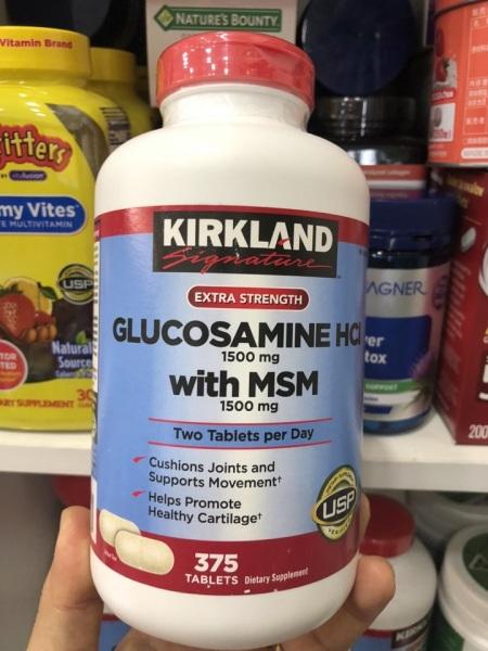 Glucosamine Kirkland bổ xương khớp 1500mg hộp 375 viên của Mỹ. Có Bill mua hàng từ Mỹ
