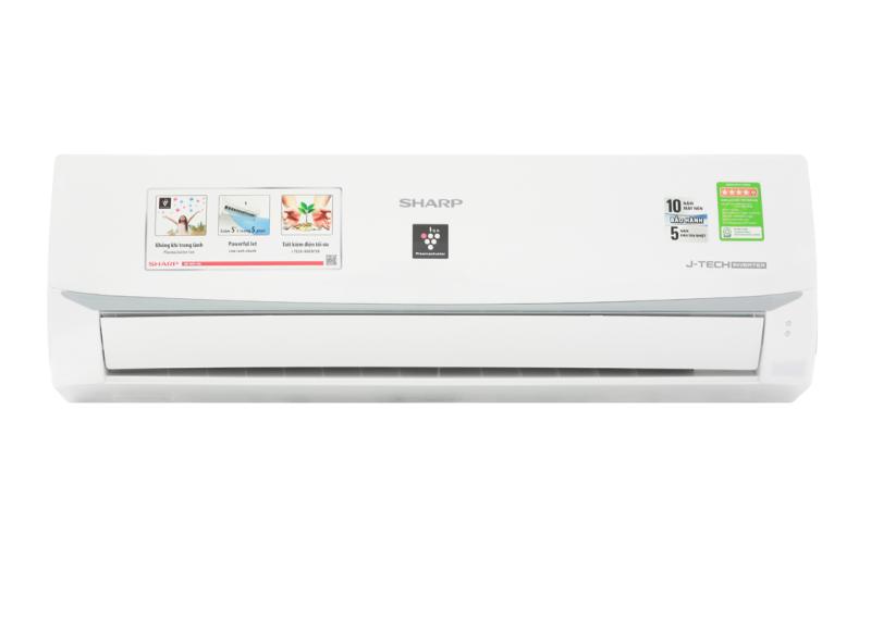 Máy lạnh Sharp Inverter 1 HP AH-XP10WMW-Tiết kiệm điện lên đến 65% nhờ công nghệ J-Tech Inverter và chế độ Eco-Công suất tiêu thụ:0.8 kW/h-Công nghệ kháng khuẩn khử mùi:Công nghệ lọc không khí Plasmacluster ion