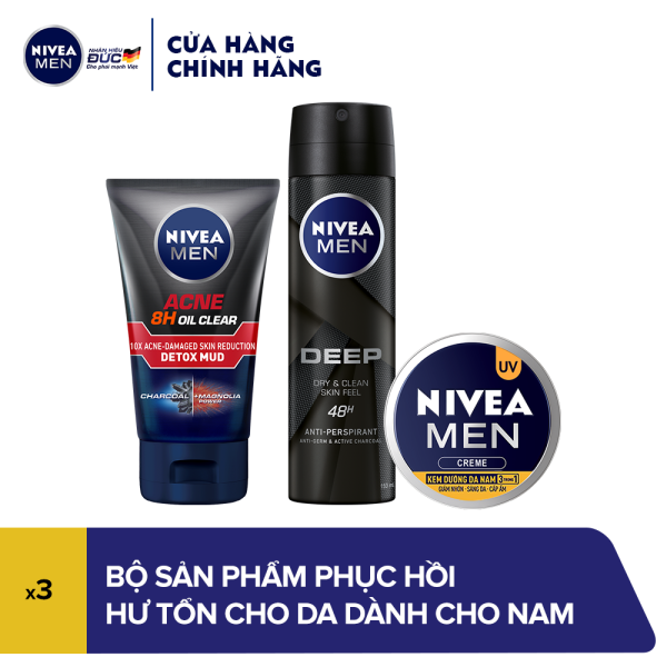 Bộ sản phẩm phục hồi hư tổn cho da dành cho nam Nivea nhập khẩu