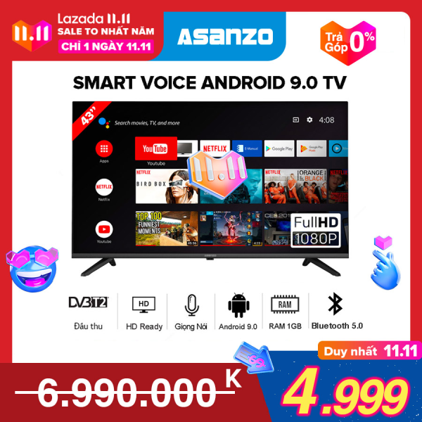 Bảng giá [SẢN PHẨM MỚI] Smart Voice Tivi Asanzo 43 inch Full HD - Model 43S51 Android 9.0, Điều khiển giọng nói, Bluetooth 5.0, Wifi 2.4GHz, Dolby Digital, Chromecast built-in, Netflix, Amazon Prime Video, Clip TV, DVB-T2, Tivi Giá Rẻ - Bảo Hành 2 Năm