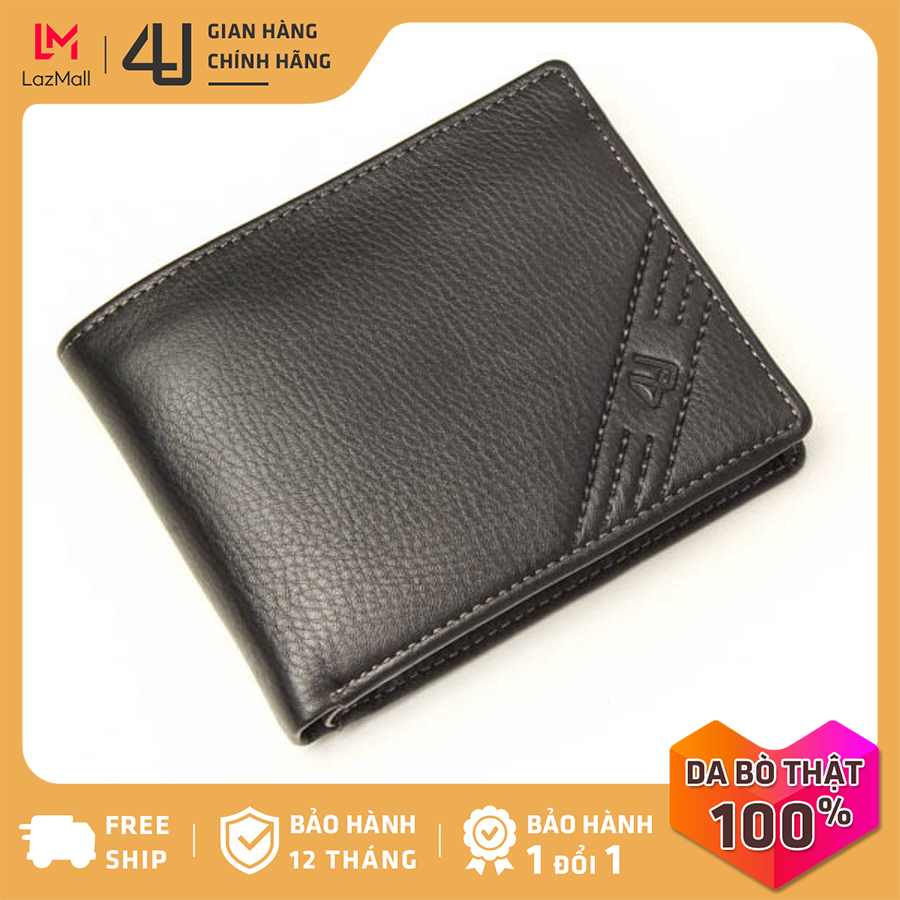 Bóp ví nam da bò thật 4U cao cấp dáng ngang, có nhiều ngăn đựng tiền và thẻ tiện dụng FA196 (đen-nâu)