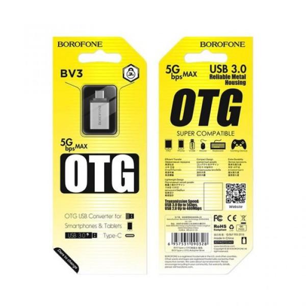Bảng giá Đầu Chuyển OTG TYPE-C, Đầu chuyển borofone BV3 OTG USB sang Type-c chính hãng, Đầu Cáp Chuyển OTG BOROFONE BV3 USB-A Sang Type-C, USB 3.0 Phong Vũ