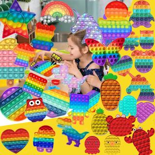 Pop it Fidget Toy bảy màu cầu vồng hình tròn hình vuông giá rẻ Hình tròn Lo lắng Giảm căng thẳng Bong bóng Giác quan Giảm căng thẳng Đồ chơi đẩy thần tài cho tiktok Dành cho Trẻ em thumbnail