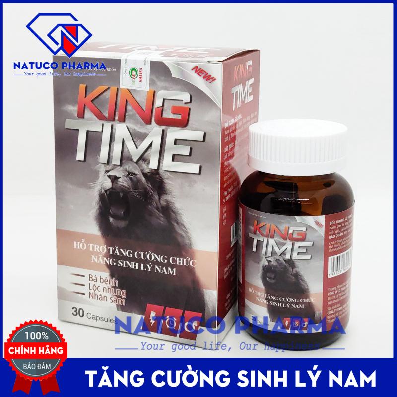 Viên uống Bổ thận KING TIME - thành phần nhung hươu, nhân sâm, đông trùng hạ thảo giúp bổ thận, tăng cường sinh lý nam - Hộp 30 viên chuẩn GMP