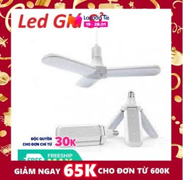 [HCM]Bóng đèn led hình 3 cánh quạt 45w siêu sáng - bảo hành 1 năm. Nguồn đèn LED chất lượng cao suy giảm ánh sáng tuổi thọ dài.