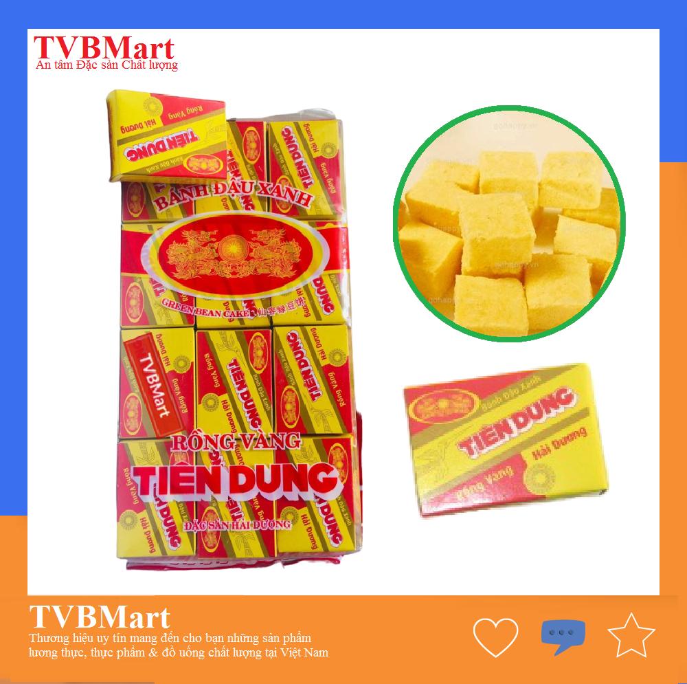 Bánh đậu xanh Rồng Vàng Tiên Dung, thơm ngon, hợp khẩu vị người lớn tuổi và trẻ con, gói Xá 360g, gồm 24 hộp nhỏ, Đặc sản Hải Dương, Date xa - TVBMart