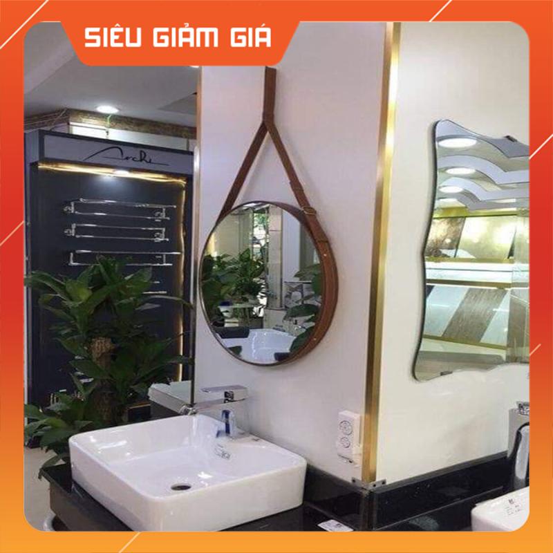 (Size 50cm) Gương Tròn Treo Tường Viền Da Simili (Màu Nâu Sậm)