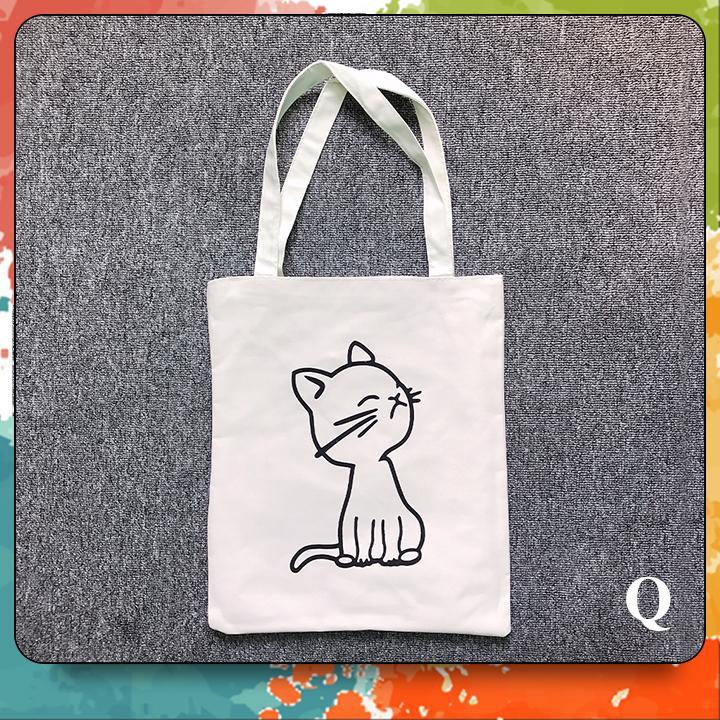 Túi Vải Tote Nữ In Họa Tiết Chú Mèo T006