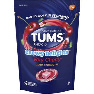Viên nhai mềm Tums antacid, chewy delights very cherry ultra strength soft chews for heartburn relief, 32 antacid thumbnail