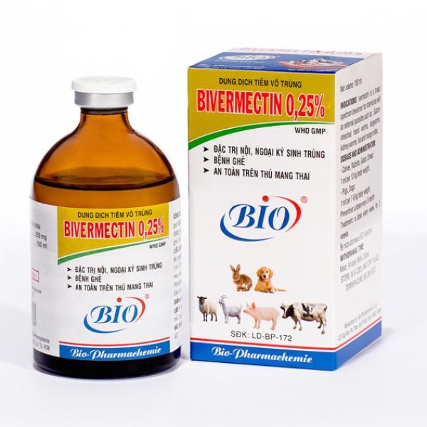 [Hàng chính hãng] Bio Bivermectin 025% 100ml vầ 20ml Diệt giun, ve, ghẻ trên chó, thỏ, gia súc dạng tiêm tặng thêm ống tiêm