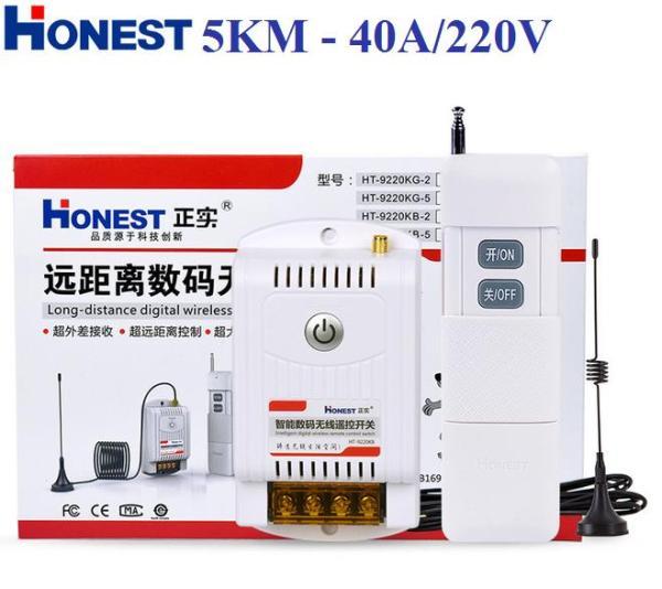 Bộ công tắc điều khiển từ xa, công suất lớn 40A/220V HT-9220KG, khoảng cách xa 5Km trong môi trường mở, giảm dần khi có vật cản