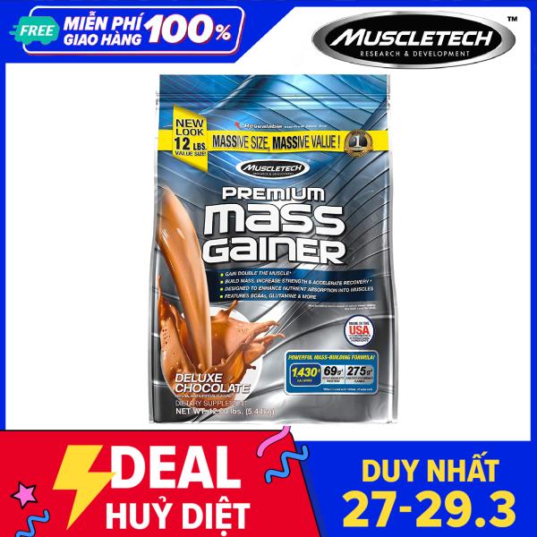 Sữa tăng cân tăng cơ Premium Mass Gainer của Muscle Tech bịch lớn 5.4 kg hỗ trợ tăng cân tăng cơ nạc nhanh cho người tập GYM và chơi thể thao dễ hấp thu không kén người dùng - thuc pham chuc nang giá rẻ