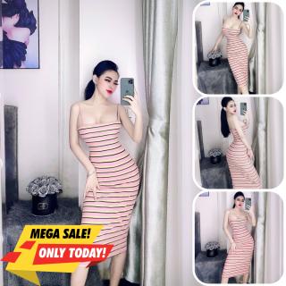 Đầm body nữ, đầm nữ body 2 dây sọc ngang tôn dáng chất thun gân size S M L D-12 thumbnail
