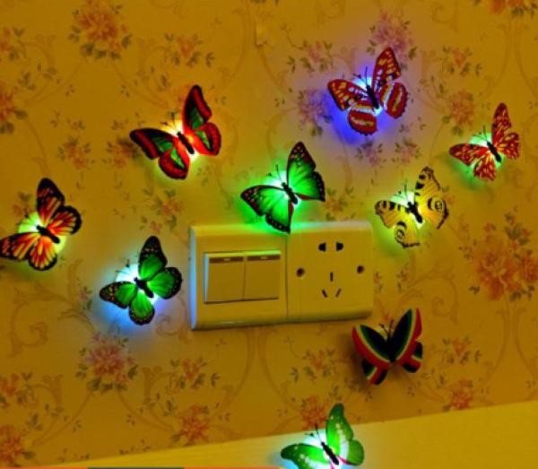 Combo 3 đèn ngủ bướm phát sáng trang trí tường