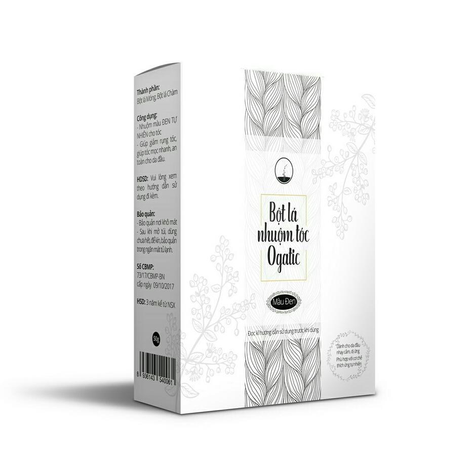 Bột lá nhuộm tóc Ogatic 50gr màu đen cho da nhạy cảm sản phẩm an toàn không hóa chất nhập khẩu