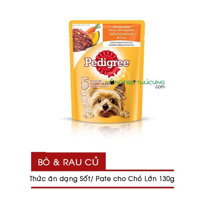 Gói Pate/ Sốt cho Chó Lớn Pedigree 130g - Vị Bò & Rau Củ - [Nông Trại Thú Cưng]