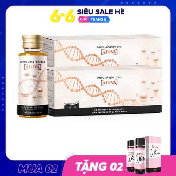 MUA 2 TẶNG 2 - MUA 02 Hộp Collagen ADIVA (14 lọ/hộp) TẶNG 02 Hộp White ADIVA