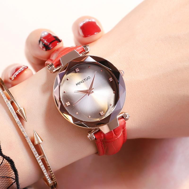 Đồng hồ Nữ MINGTUO Hàn Quốc T180X - Vân sọc hiện đại + Tặng hộp & Pin bán chạy
