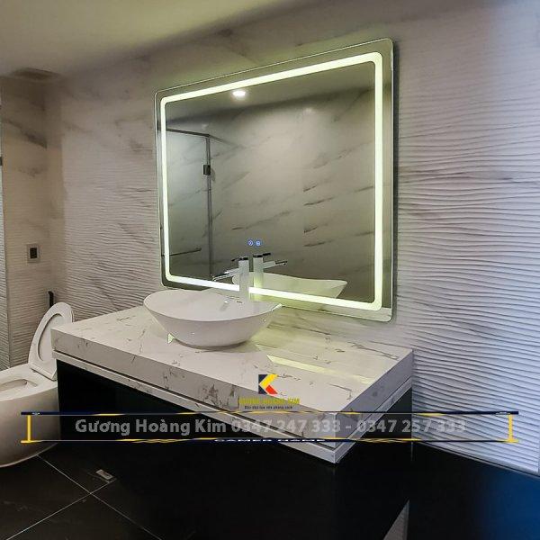 Gương led nhà tắm Gương đèn led phòng tắm tính năng 3 chạm  cảm ứng phá sương thông minh kích thước 60x80 - guonghoangkim mirror