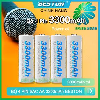 Bộ 4 Pin Sạc AA Beston 3300mAh Cho Micro Karaoke loa, đồ chơi trẻ em, đồng hồ, thiết bị điện tử, đèn flash, pin máy ảnh, xe điều khiển, đèn pin siêu sáng, loa kẹo kéo, pin sạc dung lượng cao thumbnail