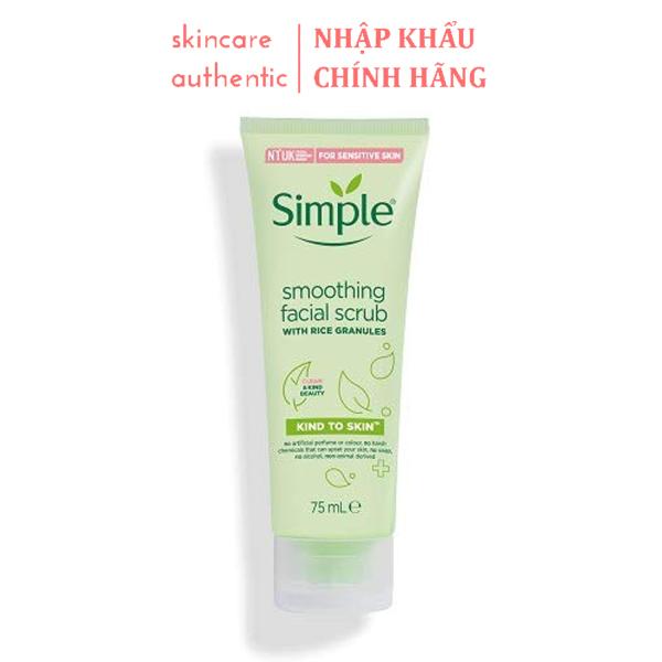 Sữa Tẩy Tế Bào Chết Mặt Simple Smoothing Facial Scrub 75ml, tẩy tế bào chết da mặt hiệu quả nhập khẩu