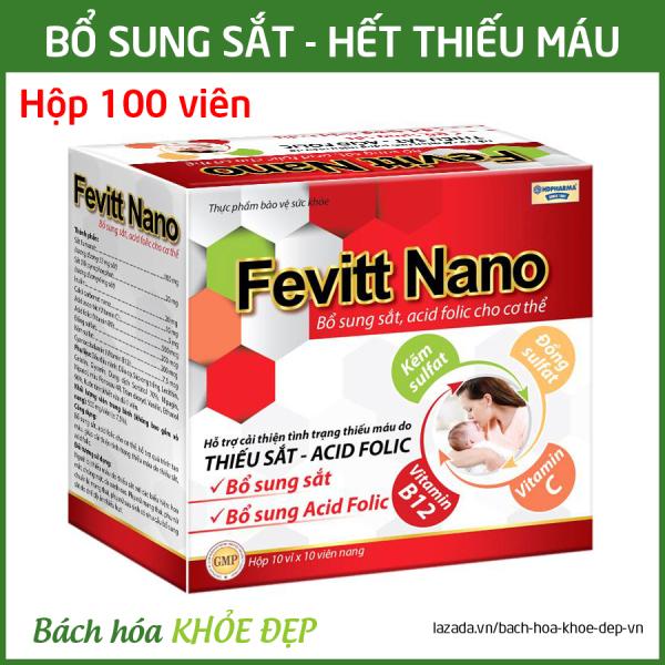 Viên uống Fevitt Nano bổ sung Sắt, Acid Folic cho người thiếu máu não, phụ nữ mang thai và sau sinh - Hộp 100 viên dùng 100 ngày tốt nhất