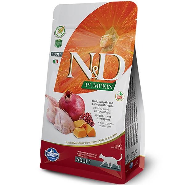 Farmina - N&D PUMPKIN CAT quail, pomegranate cho mèo trưởng thành 1.5kg