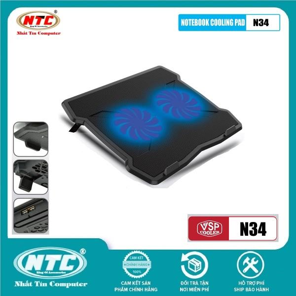 Bảng giá [Nhập ELJUN21 giảm 10%] Đế tản nhiệt VSP COOLER N34 cho laptop từ 10 đến 15.6 có đen Led (Đen) - Nhất Tín Computer Phong Vũ