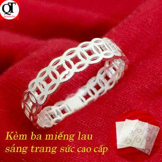 Nhẫn nữ kim tiền trơn không gắn đá chất liệu bạc ta đúc nguyên chiếc trang sức Bạc Quang Thản - QTBT76 thumbnail
