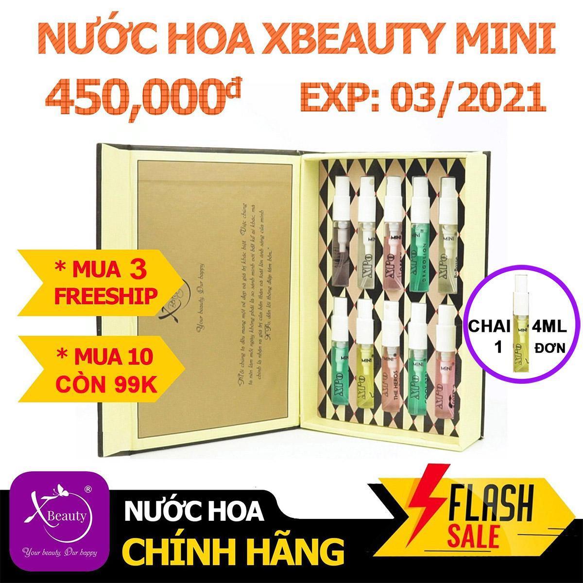 Nước hoa Nam Nữ XBeauty XPo3 Mini (Tùy chọn 10 Mùi hương) - Nước hoa Mini cô đặc dành cho Nam và Nữ lưu hương lâu đến 12 tiếng. Lưu Ý Mua Một Mùi Là Một Chai 4ML. Mua 10 mùi sẽ được gói trong hộp vàng như ảnh bìa. nhập khẩu