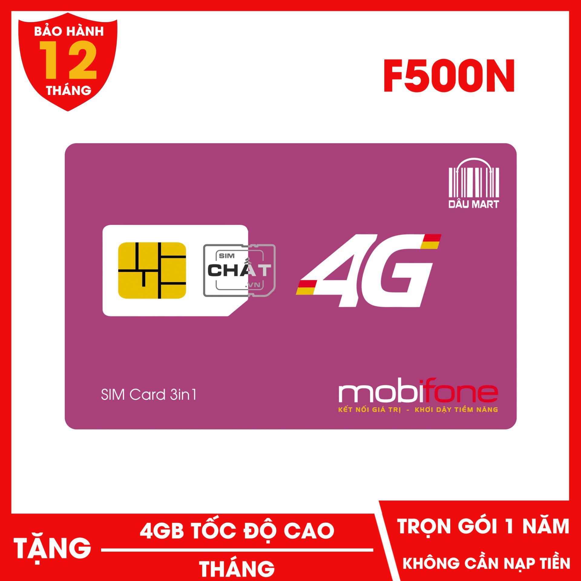 Giá SIM 4G F500N Dùng DATA Trọn Gói 1 Năm Với 4GB/Tháng của Mobifone