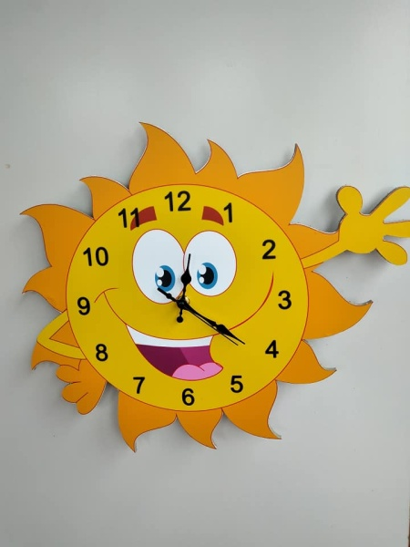 đồng hồ treo tường hình ông mặt trời ngộ nghĩnh cho trẻ em bán chạy