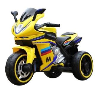 Xe máy điện moto 3 bánh AM1166 bản thể thao 2 động cơ đồ chơi đạp ga cho bé ( Đỏ-Vàng-Trắng) thumbnail