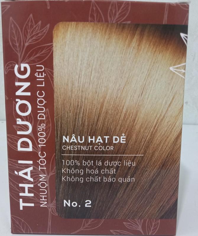 Nhuộm tóc dược liệu Thái Dương màu nâu hạt dẻ không hóa chất độc hại an toàn với đầu ( hộp 5 gói) cao cấp