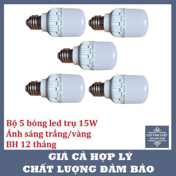Bộ 5 Đèn Led Bulb Trụ 15W, Siêu Sáng, Tiết Kiệm Điện, BH 12 Tháng, Ánh Sáng Trắng/Vàng (Đồ Đẹp Lạ Shop)