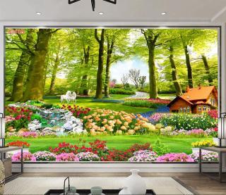 Tranh dán tường 3D Phòng Khách Rừng Hoa, 408(Đã tích hợp sẵn keo) thumbnail