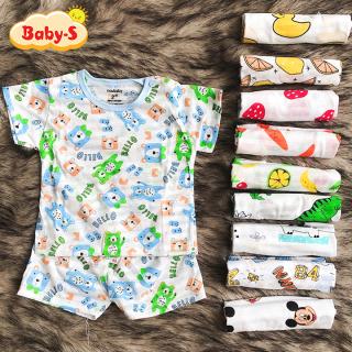[HCM]Bộ cotton sợi tre cộc tay cho bé trai và bé gái 2-13kg chất thun co giãn mát mẻ đủ họa tiết đáng yêu Baby-S SBVN036 thumbnail