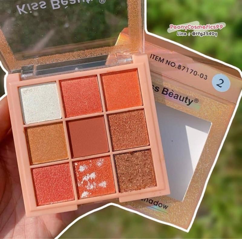 Phấn mắt 9 ô Kiss Beauty Luxury Pro Eyeshadow, Bảng phấn mắt 9 ô vuông Kiss Beauty, Phấn trang điểm mắt tone chuẩn, bám màu tốt