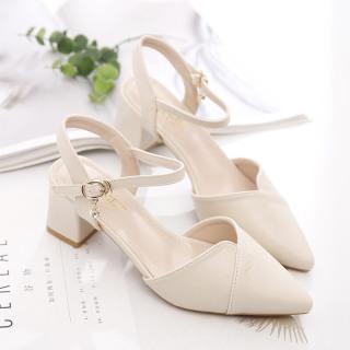 hàng full box sandal nữ cao gót mũi nhọn đế cao 5cm chất da mềm, kiểu dáng thời trang tinh tế kèm clip thumbnail