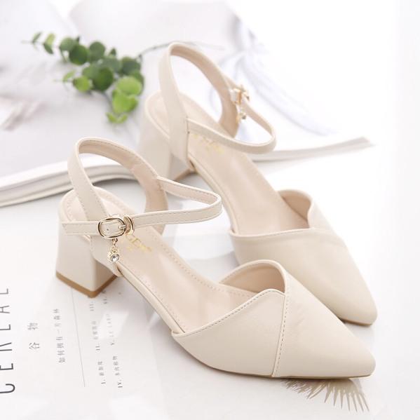 hàng full box sandal nữ cao gót mũi nhọn đế cao 5cm chất da mềm, kiểu dáng thời trang tinh tế kèm clip giá rẻ